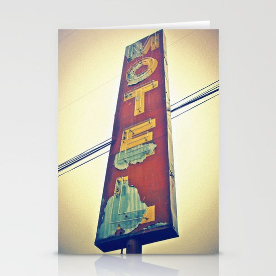 Motel Americana sign Stationery Cards