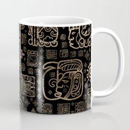 Mayan glyphs and ornaments pattern -gold on black Coffee Mug