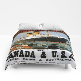 Vintage poster - Canadian Pacific Cruises Comforters