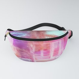 palm tree in the city with colorful bokeh light abstract Fanny Pack