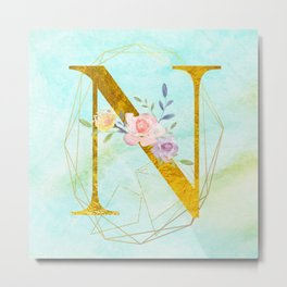 Gold Foil Alphabet Letter N Initials Monogram Frame with a Gold Geometric Wreath Metal Print