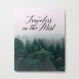 Travelers in the Mist Metal Print