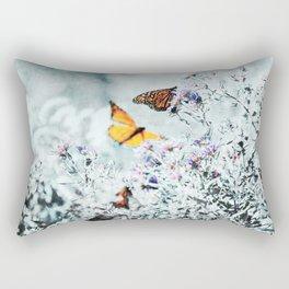Monarch Butterflies and Purple Aster Flowers Teal Rectangular Pillow