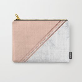 Modern stylish rose gold glitter geometric stripes blush pink white marble color block Carry-All Pouch