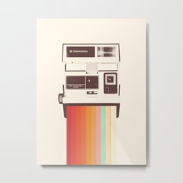 Instant Camera Rainbow Metal Print