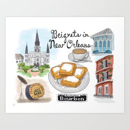 Beignets in New Orleans, Louisiana Art Print