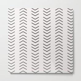 mudcloth pattern white black arrows Metal Print