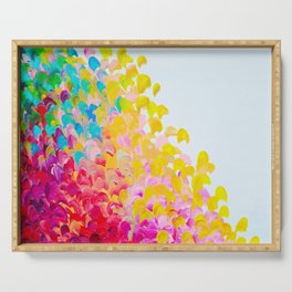 CREATION IN COLOR - Vibrant Bright Bold Colorful Abstract Painting Cheerful Fun Ocean Autumn Waves Serving Tray
