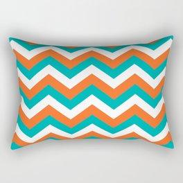 Teal & Orange Chevron Pattern Rectangular Pillow
