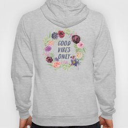 Wreath Good Vibes Only with purple flowers Hoody