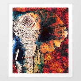 Indian Sketched Elephant Red Orange Art Print