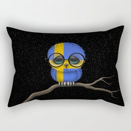 Baby Owl with Glasses and Swedish Flag Rectangular Pillow