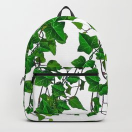 TRAILING VERDANT GREEN IVY LEAVES & VINES ON WHITE Backpack