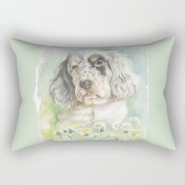 ENGLISH SETTER PUPPY Cute dog portrait on the dandelions meadow Rectangular Pillow
