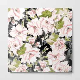 Pink Peony Floral on Geometric Black Print Metal Print