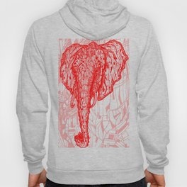 Elephant Mosaic (Red on Black Variant) Hoody