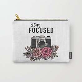 Stay Focused Camera Flowers Carry-All Pouch