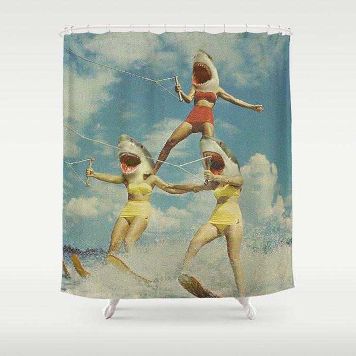 On Evil Beach - Shark Attack Shower Curtain