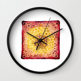 Under the Scope - Diatom - Red Palette Wall Clock