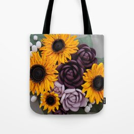 Sunflowers Roses Paper Quilled Flowers Tote Bag