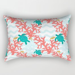 Clowning Around With Sea Turtles on The Reef Rectangular Pillow