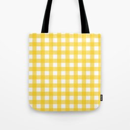 White & Yellow Gingham Pattern Tote Bag