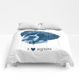 I love my dog - Boxer, blue Comforters