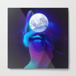 Moon Head Metal Print