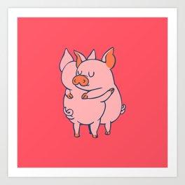 Pig Hugs Art Print