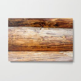 Wooden Log Wall Of A Vintage Cabin Metal Print