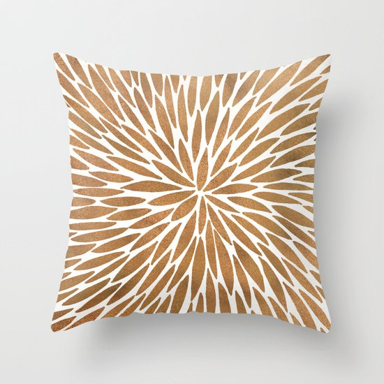Rose Gold Burst Throw Pillow