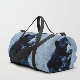 Black bear contemplating life Duffle Bag