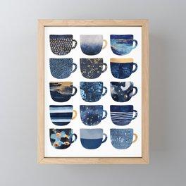 Pretty Blue Coffee Cups Framed Mini Art Print