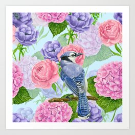 Blue jay and flowers watercolor pattern Art Print