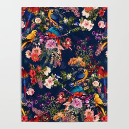 FLORAL AND BIRDS XII Poster