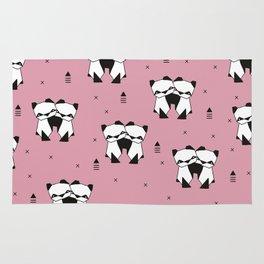 Hugging panda bears sweet geometric illustration print pink Rug