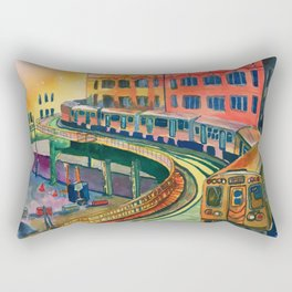 Brown Line to the Loop Rectangular Pillow