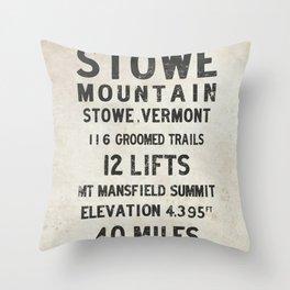 Stowe Ski Mountain Vermont Throw Pillow