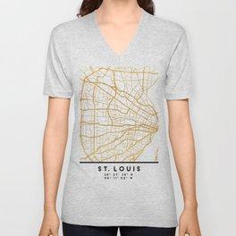 ST. LOUIS MISSOURI CITY STREET MAP ART Unisex V-Neck