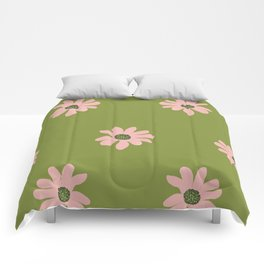 Colorful retro home decor and textile design flower pattern on olive Comforters
