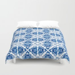Vintage shabby Chic Seamless pattern with blue flowers and leaves Duvet Cover