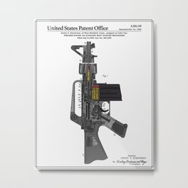 AR-15 Semi-Automatic Rifle Patent Metal Print