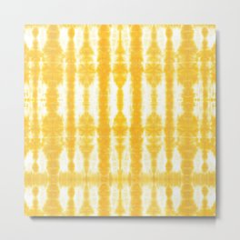Yellow Tiki Shibori Metal Print