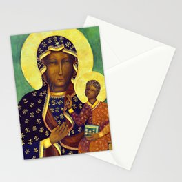 Virgin Mary Our Lady of Czestochowa Poland Black Madonna and Child Religion Christmas Gift Stationery Cards