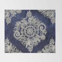 Cream Floral Moroccan Pattern on Deep Indigo Ink Throw Blanket
