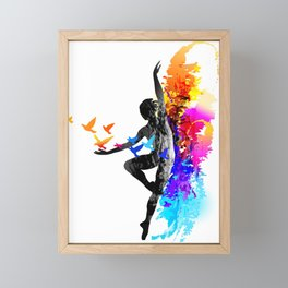 Ballet dancer dancing with flying birds Framed Mini Art Print