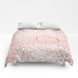 Sparkling ROSE GOLD Lady Glitter Heart #5 #decor #art #society6 Comforters