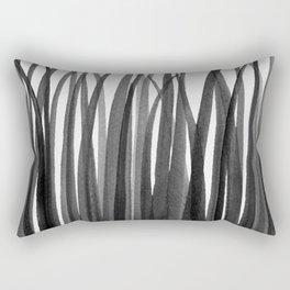 Grasses - Black and White Rectangular Pillow