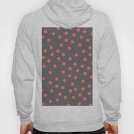 Simply Dots Deep Coral on Storm Gray Hoody