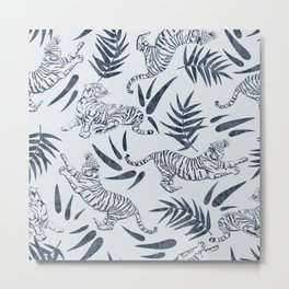 Tigers and Bamboo Leaves in Navy Blue Metal Print